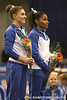 photo by Tim Casey<br /> <br /> Nicole Ellis and Melanie Sinclair are recognized for finishing in third place on the vault with a score of 9.85 during the No. 1-ranked Gators' 196.50-196.25 win against the No. 4-ranked Auburn Tigers on on Friday, January 16, 2009 at the Stephen C. O'Connell Center in Gainesville, Fla.