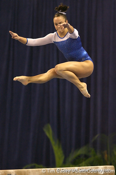 photo by Tim Casey<br /> <br /> Florida sophomore Alicia Goodwin earns a 9.3 on the balance beam during the No. 1-ranked Gators' 196.50-196.25 win against the No. 4-ranked Auburn Tigers on on Friday, January 16, 2009 at the Stephen C. O'Connell Center in Gainesville, Fla.