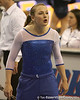 photo by Tim Casey<br /> <br /> Ashley Kerr cheers on her teammates during the No. 1-ranked Gators' 196.50-196.25 win against the No. 4-ranked Auburn Tigers on on Friday, January 16, 2009 at the Stephen C. O'Connell Center in Gainesville, Fla.