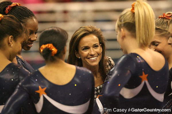 photo by Tim Casey<br /> <br /> Auburn associate head coach Rachelle Thompson watches during the No. 1-ranked Gators' 196.50-196.25 win against the No. 4-ranked Auburn Tigers on on Friday, January 16, 2009 at the Stephen C. O'Connell Center in Gainesville, Fla.