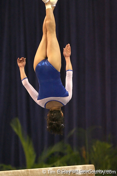photo by Tim Casey<br /> <br /> Florida junior Amanda Castillo earns a 9.475 on the balance beam during the No. 1-ranked Gators' 196.50-196.25 win against the No. 4-ranked Auburn Tigers on on Friday, January 16, 2009 at the Stephen C. O'Connell Center in Gainesville, Fla.
