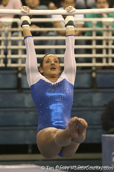 photo by Tim Casey<br /> <br /> Florida junior Maranda Smith earns a 9.850 on the uneven bars during the No. 1-ranked Gators' 196.50-196.25 win against the No. 4-ranked Auburn Tigers on on Friday, January 16, 2009 at the Stephen C. O'Connell Center in Gainesville, Fla.