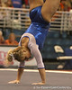 photo by Tim Casey<br /> <br /> Florida junior Courtney Gladys earns a 9.775 on the floor exercise during the No. 1-ranked Gators' 196.50-196.25 win against the No. 4-ranked Auburn Tigers on on Friday, January 16, 2009 at the Stephen C. O'Connell Center in Gainesville, Fla.