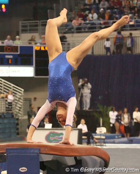 photo by Tim Casey<br /> <br /> Florida senior Corey Hartung earns a 9.825 on the vault during the No. 1-ranked Gators' 196.50-196.25 win against the No. 4-ranked Auburn Tigers on on Friday, January 16, 2009 at the Stephen C. O'Connell Center in Gainesville, Fla.