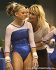photo by Tim Casey<br /> <br /> Coach Rhonda Faehn talks with Corey Hartung during the No. 1-ranked Gators' 196.50-196.25 win against the No. 4-ranked Auburn Tigers on on Friday, January 16, 2009 at the Stephen C. O'Connell Center in Gainesville, Fla.