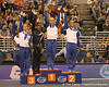 photo by Tim Casey<br /> <br /> Top finishers on the floor exercise wave to the crowd during the No. 1-ranked Gators' 196.50-196.25 win against the No. 4-ranked Auburn Tigers on on Friday, January 16, 2009 at the Stephen C. O'Connell Center in Gainesville, Fla.