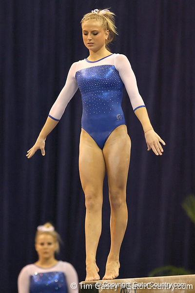 photo by Tim Casey<br /> <br /> Florida junior Corey Hartung warms up on the balance beam during the No. 1-ranked Gators' 196.50-196.25 win against the No. 4-ranked Auburn Tigers on on Friday, January 16, 2009 at the Stephen C. O'Connell Center in Gainesville, Fla.