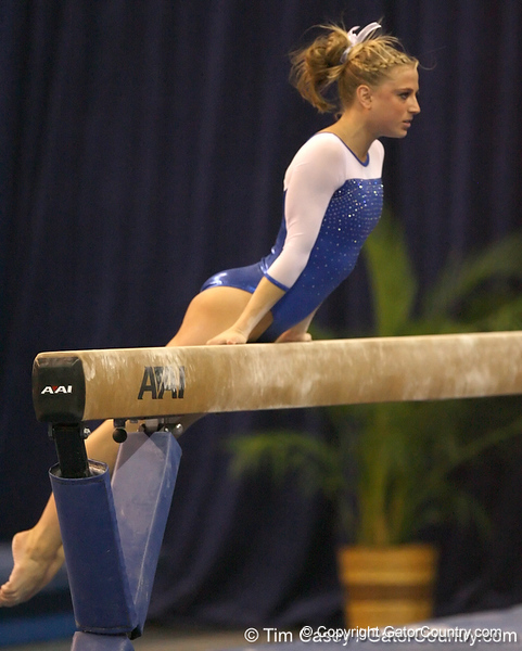 photo by Tim Casey<br /> <br /> Florida senior Corey Hartung earns a 9.775 on the balance beam during the No. 1-ranked Gators' 196.50-196.25 win against the No. 4-ranked Auburn Tigers on on Friday, January 16, 2009 at the Stephen C. O'Connell Center in Gainesville, Fla.