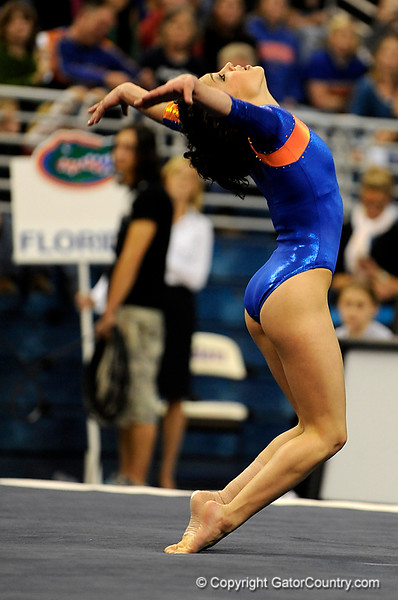 (Casey Brooke Lawson / Gator Country) Amanda Castillo competes on floor for an exhibition during the Gators gymnastics meet against Alabama on Friday, February 20, 2009.