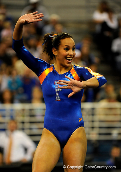 (Casey Brooke Lawson / Gator Country) Miranda Smith competes on floor during the Gators gymnastics meet against Alabama on Friday, February 20, 2009.