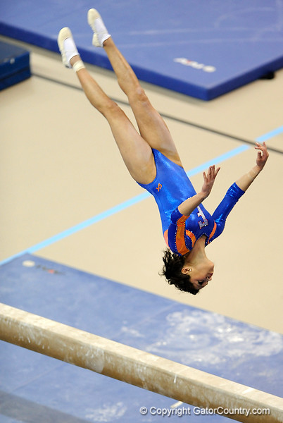 (Casey Brooke Lawson / Gator Country) Amanda Castillo warms up on beam during the Gators gymnastics meet against Alabama on Friday, February 20, 2009.