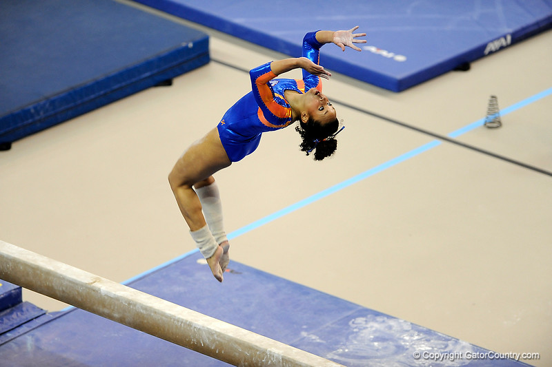 (Casey Brooke Lawson / Gator Country) Miranda Smith warms up on beam during the Gators gymnastics meet against Alabama on Friday, February 20, 2009.