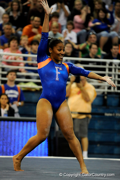 (Casey Brooke Lawson / Gator Country) Melanie Sinclair competes on floor during the Gators gymnastics meet against Alabama on Friday, February 20, 2009.