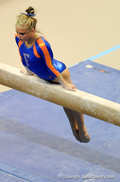 (Casey Brooke Lawson / Gator Country) Corey Hartung competes on beam during the Gators gymnastics meet against Alabama on Friday, February 20, 2009.