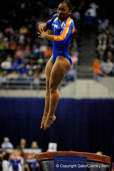 (Casey Brooke Lawson / Gator Country) Melanie Sinclair competes on vault during the Gators gymnastics meet against Alabama on Friday, February 20, 2009.