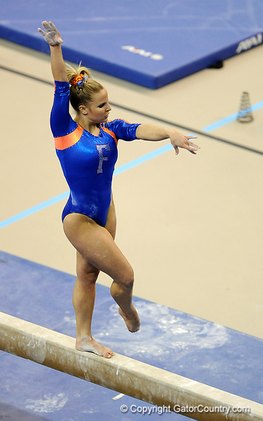 (Casey Brooke Lawson / Gator Country) Courtney Gladys competes on beam during the Gators gymnastics meet against Alabama on Friday, February 20, 2009.