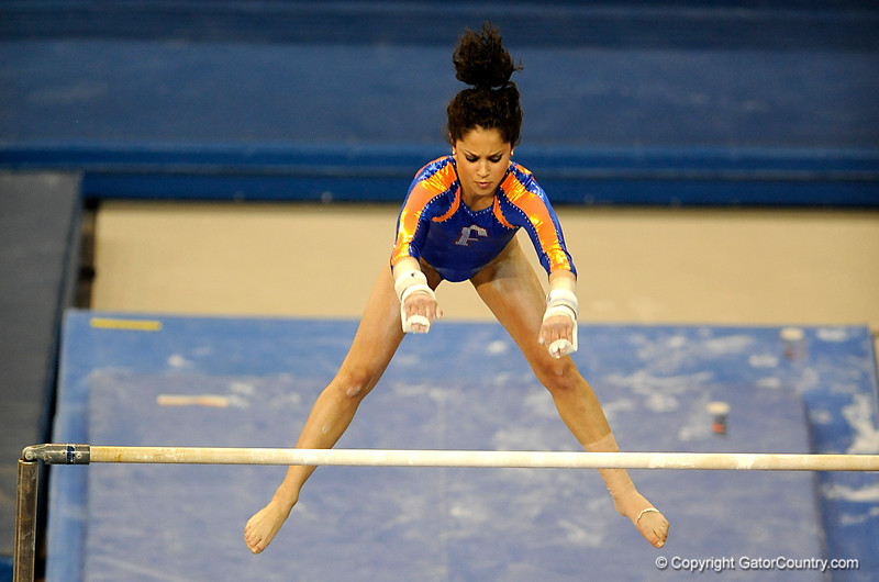 (Casey Brooke Lawson / Gator Country) Amanda Castillo competes on bars during the Gators gymnastics meet against Alabama on Friday, February 20, 2009.