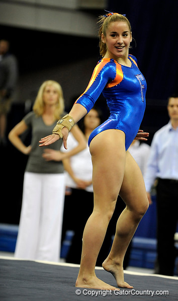 (Casey Brooke Lawson / Gator Country) Amy Ferguson competes on floor during the Gators gymnastics meet against Alabama on Friday, February 20, 2009.