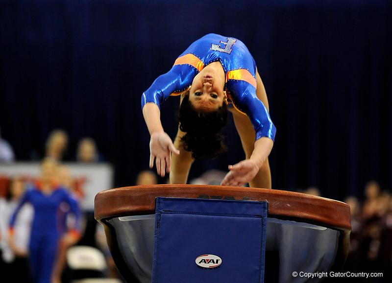 (Casey Brooke Lawson / Gator Country) Amanda Castillo competes on vault during the Gators gymnastics meet against Alabama on Friday, February 20, 2009.