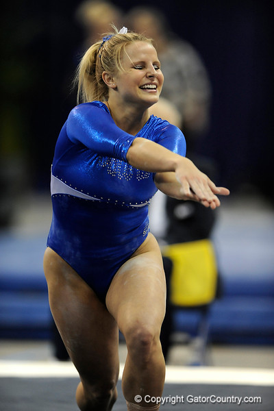 Courtney Gladys competes on the floor during the University of Florida Gators gymnastics meet against the University of Michigan Wolverines on Friday, March 6, 2009 in the Steven C. O'Connell Center. / Gator Country photo by Casey Brooke lawson