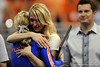 UF senior Corey Hartung receives a hug from Head Coach Rhonda Faehn during the University of Florida Gators gymnastics meet against the University of Michigan Wolverines on Friday, March 6, 2009 in the Steven C. O'Connell Center. / Gator Country photo by Casey Brooke lawson