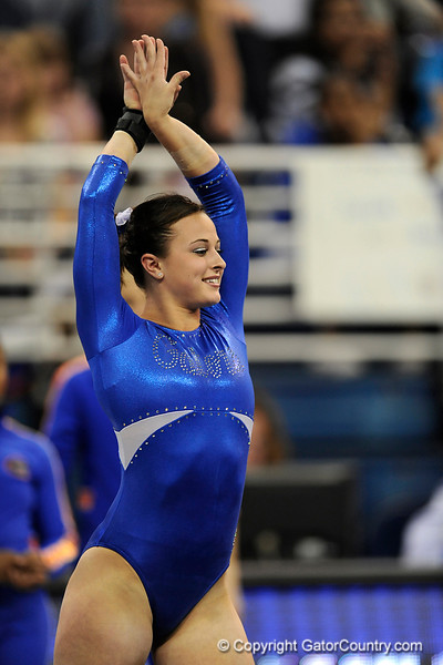 Elizabeth Mahlich competes on the floor during the University of Florida Gators gymnastics meet against the University of Michigan Wolverines on Friday, March 6, 2009 in the Steven C. O'Connell Center. / Gator Country photo by Casey Brooke lawson