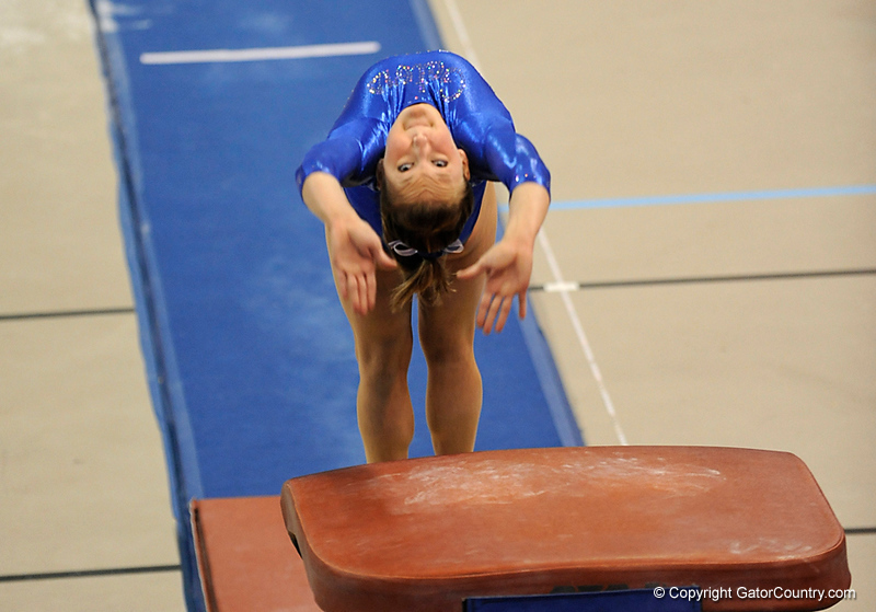 Ashley Kerr competes on the vault during the University of Florida Gators gymnastics meet against the University of Michigan Wolverines on Friday, March 6, 2009 in the Steven C. O'Connell Center. / Gator Country photo by Casey Brooke lawson