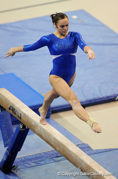 Alicia Goodwin competes on the beam during the University of Florida Gators gymnastics meet against the University of Michigan Wolverines on Friday, March 6, 2009 in the Steven C. O'Connell Center. / Gator Country photo by Casey Brooke lawson