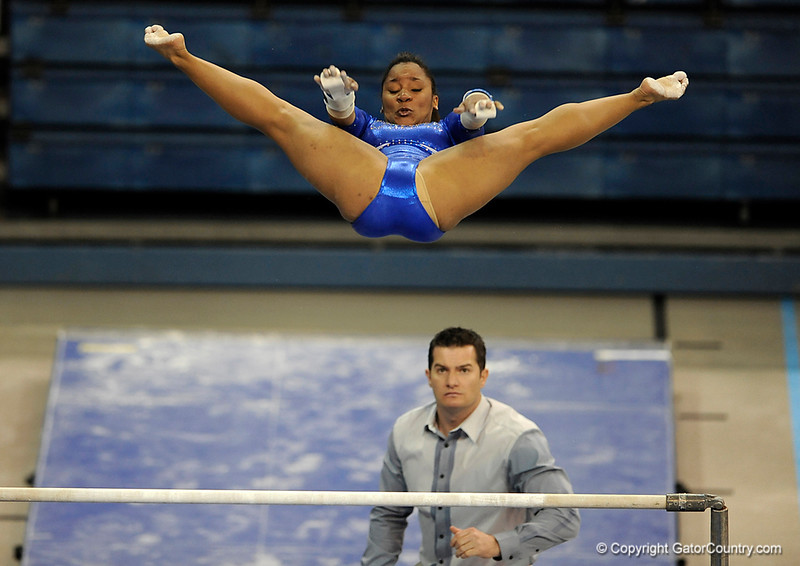 Stephanie Sinclair competes on the bars during the University of Florida Gators gymnastics meet against the University of Michigan Wolverines on Friday, March 6, 2009 in the Steven C. O'Connell Center. / Gator Country photo by Casey Brooke lawson
