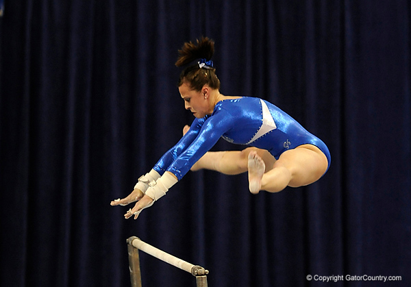 Elizabeth Mahlich competes on the bars during the University of Florida Gators gymnastics meet against the University of Michigan Wolverines on Friday, March 6, 2009 in the Steven C. O'Connell Center. / Gator Country photo by Casey Brooke lawson