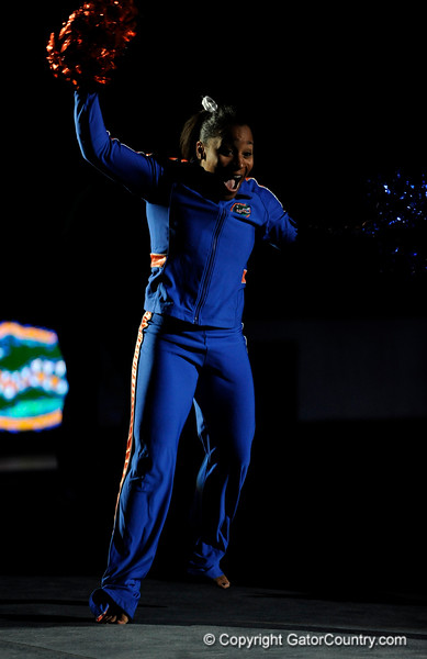 Melanie Sinclair cheers with the crowd during the University of Florida Gators gymnastics meet against the University of Michigan Wolverines on Friday, March 6, 2009 in the Steven C. O'Connell Center. / Gator Country photo by Casey Brooke lawson