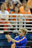 Kailey Tissue claps during the University of Florida Gators gymnastics meet against the University of Michigan Wolverines on Friday, March 6, 2009 in the Steven C. O'Connell Center. / Gator Country photo by Casey Brooke lawson