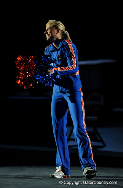 UF senior Corey Hartung claps with the crowd during the University of Florida Gators gymnastics meet against the University of Michigan Wolverines on Friday, March 6, 2009 in the Steven C. O'Connell Center. / Gator Country photo by Casey Brooke lawson