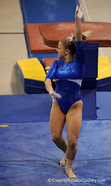 Courtney Gladys competes on the vault during the University of Florida Gators gymnastics meet against the University of Michigan Wolverines on Friday, March 6, 2009 in the Steven C. O'Connell Center. / Gator Country photo by Casey Brooke lawson