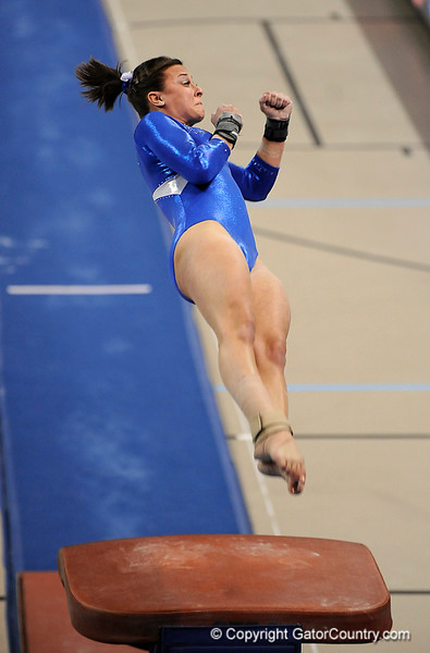 Elizabeth Mahlich competes on the vault during the University of Florida Gators gymnastics meet against the University of Michigan Wolverines on Friday, March 6, 2009 in the Steven C. O'Connell Center. / Gator Country photo by Casey Brooke lawson