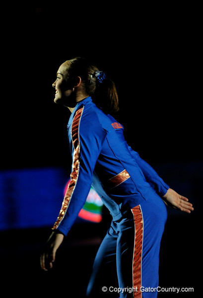 Alicia Goodwin runs onto the floor during the University of Florida Gators gymnastics meet against the University of Michigan Wolverines on Friday, March 6, 2009 in the Steven C. O'Connell Center. / Gator Country photo by Casey Brooke lawson