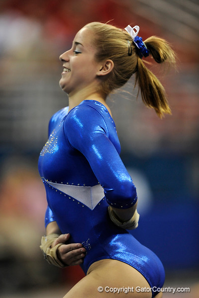 Amy Ferguson competes on the floor during the University of Florida Gators gymnastics meet against the University of Michigan Wolverines on Friday, March 6, 2009 in the Steven C. O'Connell Center. / Gator Country photo by Casey Brooke lawson