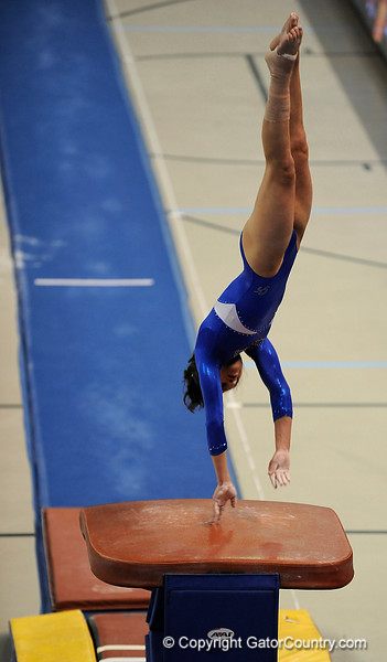 Amanda Castillo competes on the vault during the University of Florida Gators gymnastics meet against the University of Michigan Wolverines on Friday, March 6, 2009 in the Steven C. O'Connell Center. / Gator Country photo by Casey Brooke lawson