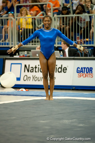 Florida junior Ashanée Dickerson performs on floor during the Gators' 197.525, 196.825  win against the Georgia Bulldogs on Friday, February 24, 2012 at the Stephen C. O'Connell Center in Gainesville, Fla. / Gator Country photo by Saj Guevara