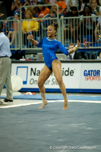Florida freshman Kytra Hunter performs on the floor during the Gators' 197.525, 196.825  win against the Georgia Bulldogs on Friday, February 24, 2012 at the Stephen C. O'Connell Center in Gainesville, Fla. / Gator Country photo by Saj Guevara