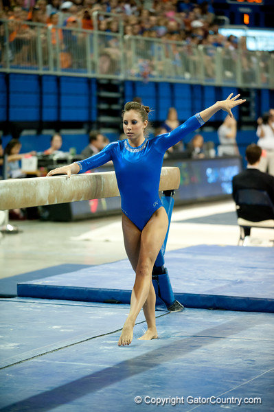 Florida sophomore Alaina Johnson performs on beam during the Gators' 197.525, 196.825  win against the Georgia Bulldogs on Friday, February 24, 2012 at the Stephen C. O'Connell Center in Gainesville, Fla. / Gator Country photo by Saj Guevara