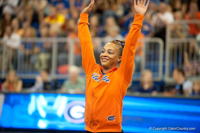 Florida freshman Kytra Hunter wins all around during the Gators' 197.525, 196.825  win against the Georgia Bulldogs on Friday, February 24, 2012 at the Stephen C. O'Connell Center in Gainesville, Fla. / Gator Country photo by Saj Guevara