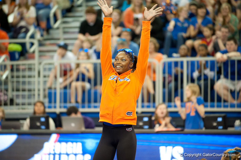 Florida junior Ashanée Dickerson wins entertainer award during the Gators' 197.525, 196.825  win against the Georgia Bulldogs on Friday, February 24, 2012 at the Stephen C. O'Connell Center in Gainesville, Fla. / Gator Country photo by Saj Guevara