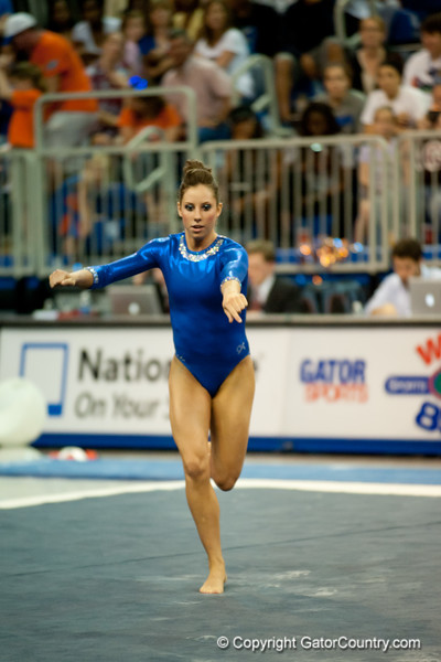 Florida sophomore Alaina Johnson performs on floor during the Gators' 197.525, 196.825  win against the Georgia Bulldogs on Friday, February 24, 2012 at the Stephen C. O'Connell Center in Gainesville, Fla. / Gator Country photo by Saj Guevara