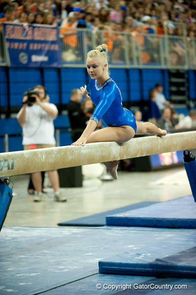 Florida freshman Rachel Spicer performs an exhibition on beam during the Gators' 197.525, 196.825  win against the Georgia Bulldogs on Friday, February 24, 2012 at the Stephen C. O'Connell Center in Gainesville, Fla. / Gator Country photo by Saj Guevara