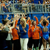 Florida freshman Kytra Hunter is greeted by her coach after her performance on beam during the Gators' 197.525, 196.825  win against the Georgia Bulldogs on Friday, February 24, 2012 at the Stephen C. O'Connell Center in Gainesville, Fla. / Gator Country photo by Saj Guevara