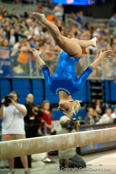 Florida junior Randy Stageberg performs on beam during the Gators' 197.525, 196.825  win against the Georgia Bulldogs on Friday, February 24, 2012 at the Stephen C. O'Connell Center in Gainesville, Fla. / Gator Country photo by Saj Guevara