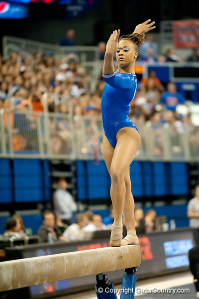 Florida freshman Kytra Hunter performs on beam during the Gators' 197.525, 196.825  win against the Georgia Bulldogs on Friday, February 24, 2012 at the Stephen C. O'Connell Center in Gainesville, Fla. / Gator Country photo by Saj Guevara