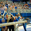 Florida junior Marissa King is greeted by her coach after performing on the balance beam during the Gators' 197.525, 196.825  win against the Georgia Bulldogs on Friday, February 24, 2012 at the Stephen C. O'Connell Center in Gainesville, Fla. / Gator Country photo by Saj Guevara