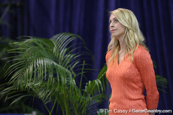 Florida head coach Rhonda Faehn looks on during the Gators' 196.175-191.875 win against the Illinois-Chicago Flames on Friday, January 13, 2012 at the Stephen C. O'Connell Center in Gainesville, Fla. / Gator Country photo by Tim Casey